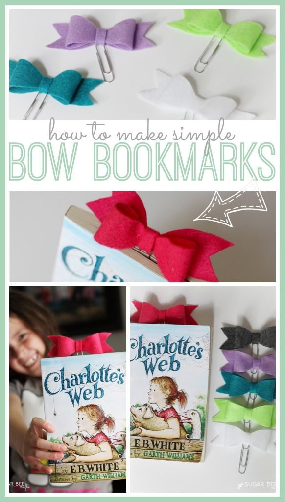 How to make bow bookmarks. So easy I could do them. I also made them with old book pages super cute.
