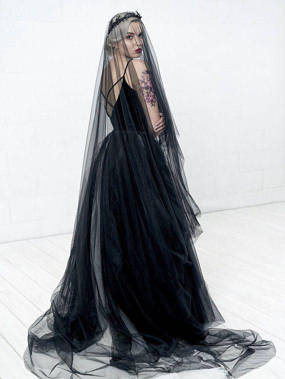 Women Girl One-Layer Black Wedding Veil Halloween Cosplay Sheer Hair Accessories