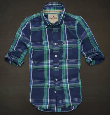 Hollister by Abercrombie Men Plaid Shirt Blue Navy New