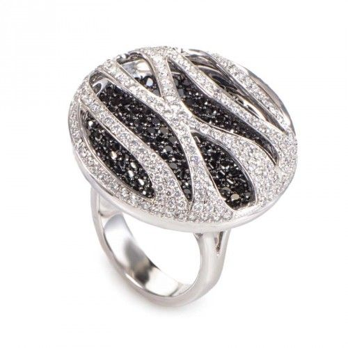 Rings 18K White Gold Black & White Diamond Pave Stripes Ring CRR6946