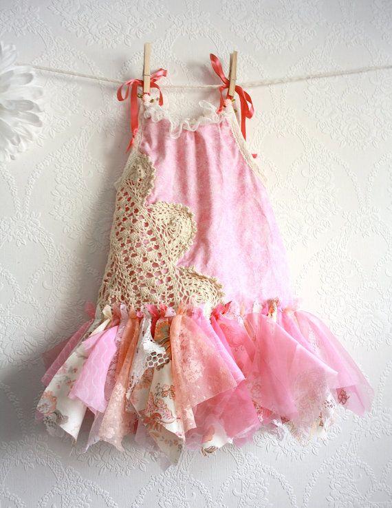 Shabby Chic Fairy Dress 12 Months Pink Sundress by MyFairMaiden, $68.00