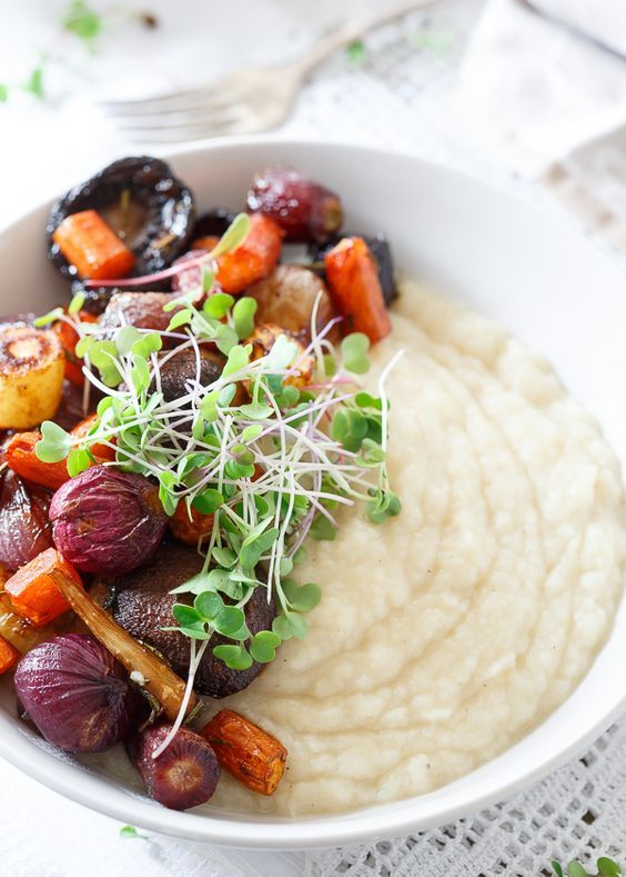 Celery Root Puree with Roasted Balsamic Vegetables makes an incredibly comforting vegetarian meal.