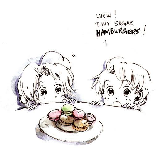 Little Matthew and Alfred discover macarons - Art by starstray.livejournal.com. TINY SUGAR BURGERS. lol.