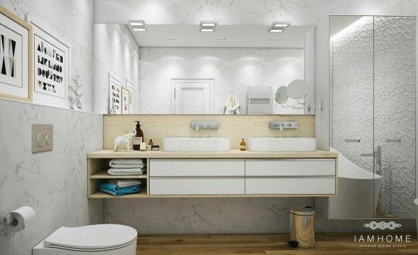 lustrzane ściany i szafki w łazience,strukturalne ściany i wiszące szafki z umywalkami  - Lovingit.pl