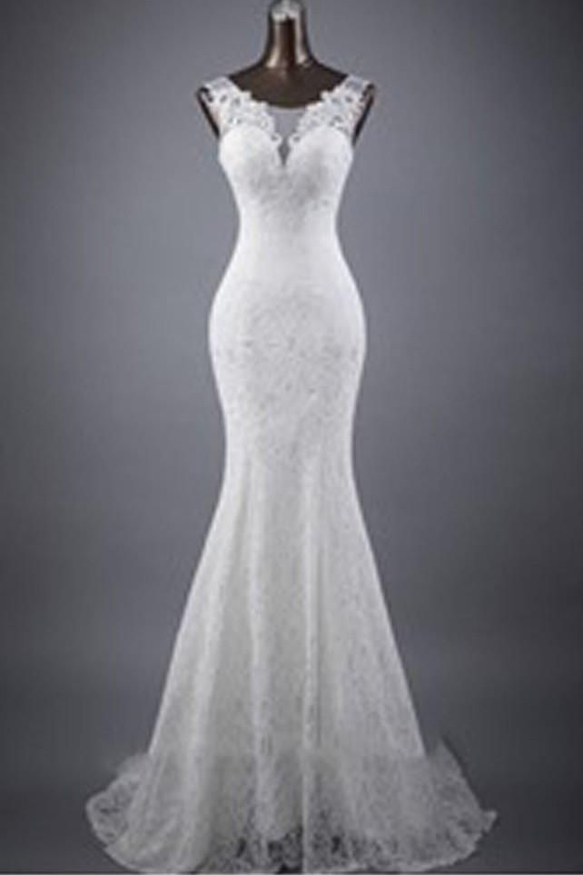 Decent White Lace Wedding Dresses,Sleeveless Mermaid Lace Up Popular Wedding Dress,SVD510