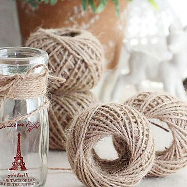 60Yards+Natural+Jute+Burlap+Hessian+Ribbon+Trims+Tape+Rustic+Wedding+Decor(2mm+wide)+–+USD+$+3.99