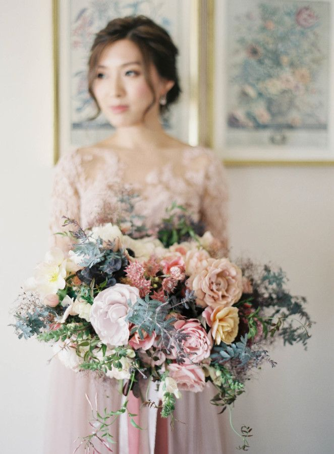 Romantic whimsical blush, mauve and taupe wedding bouquet: http://www.stylemepretty.com/2016/12/19/unique-couples-session/ Photography: Jen Huang - http://jenhuangphoto.com/