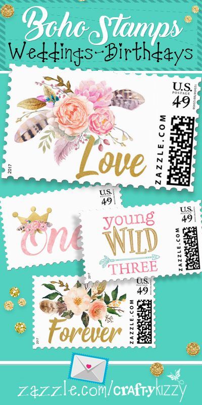 Postage for all occasions - Boho - Woodland - Wild and Three - Wedding Stamps - Love - Forever - Tea Party - Marti Gras #snailmail #sendmoremail #stamps