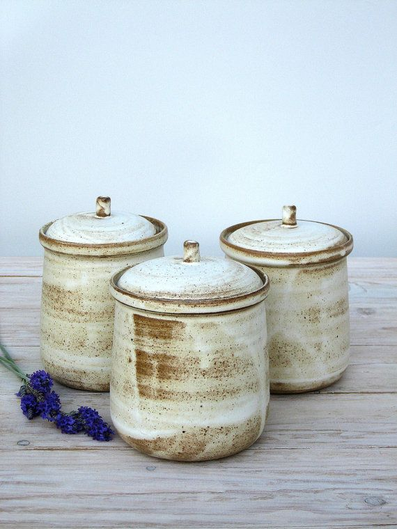 Ceramic jar with lid,ceramic jar,ceramic salt cellar,sugar jar,rustic jar,white…