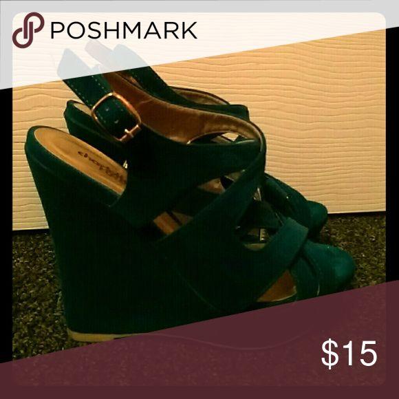 Teal Wedge heel. Teal wedges. Suede like material. Charlotte Russe Shoes Wedges