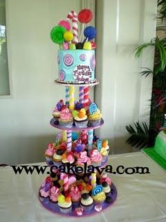 A cute Candy Land cake & cupcake tower.