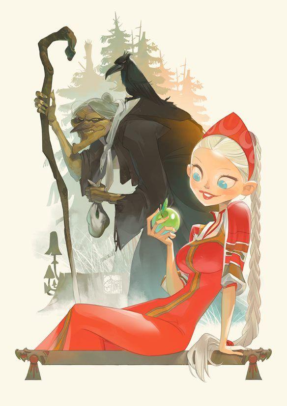 ¿Vasilisa la hermosa y Baba Yaga, o Blanca Nieves y la Madrastra Malvada? arte por Otto Schmidt.