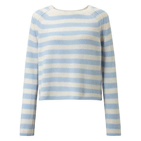 Buy 360 Sweater Nariko Stripe Cashmere Jumper, Wedgewood/Chalk Online at johnlewis.com