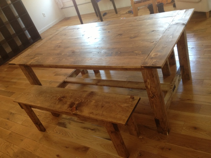 Custom wood farmhouse rustic dining room table and bench for Rustic shabby chic dining table