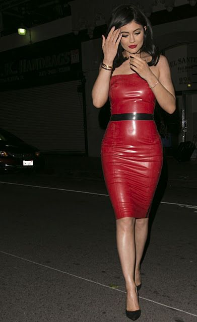 Celebrities In Leather: Kylie Jenner wears a red latex ...