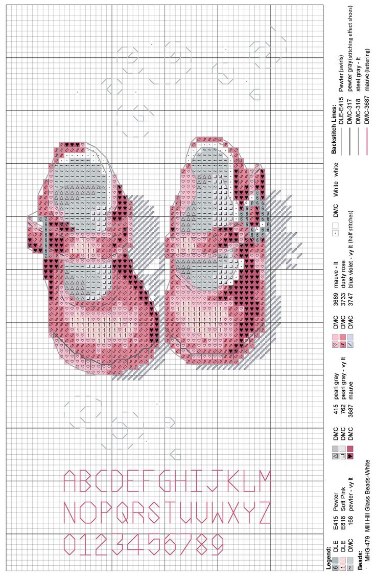 Baby shoes girl with beads and DMC Light Effects