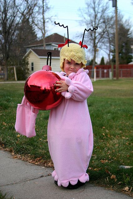 who was not more than two. puffy pink dress, blond wighat (complete with antennae and hair bows), christmas tree bulb, and a matching pink t...