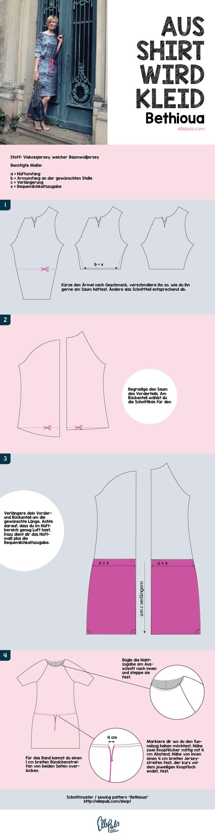 Schritt für Schritt Anleitung für ein Bethioua Kleid. Tutorial mit Bildern.