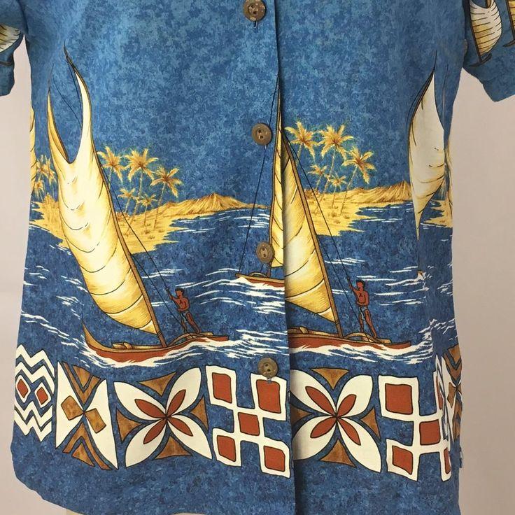 Hawiian Shirt Women's Sz Large Blue Boats Palm Trees S/S Nui Nalu USA Colorful #NuiNalu #ButtonDownShirt #Casual