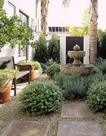 courtyard in small backyard. How to decorate backyard? Shrubs more central, away from perimeter? Metal groundplates? BIG fountain??