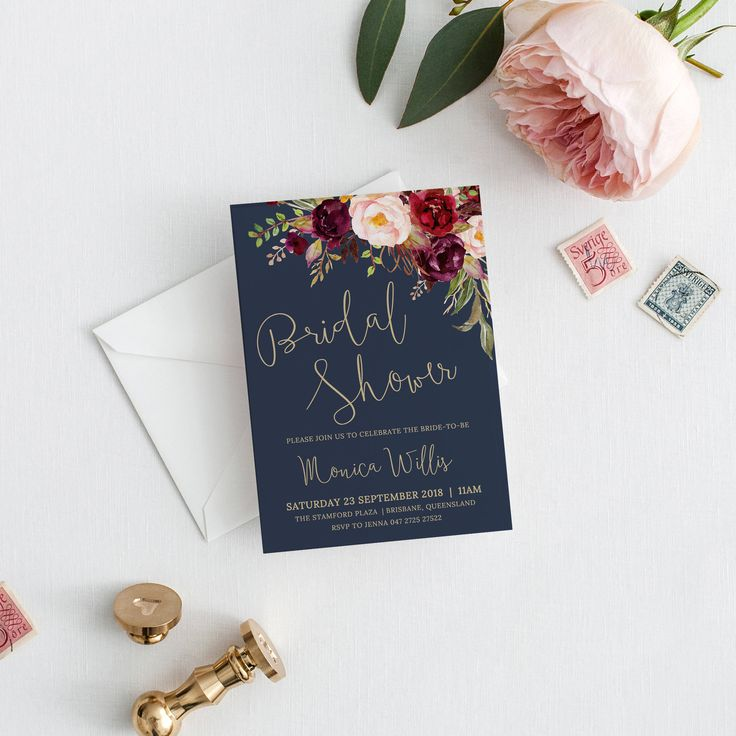 bridal shower invitations free printable templates%0A Bridal shower Invitation  bridal invite  bridal invitation  printable navy  gold invitation  templett instant download Lucy