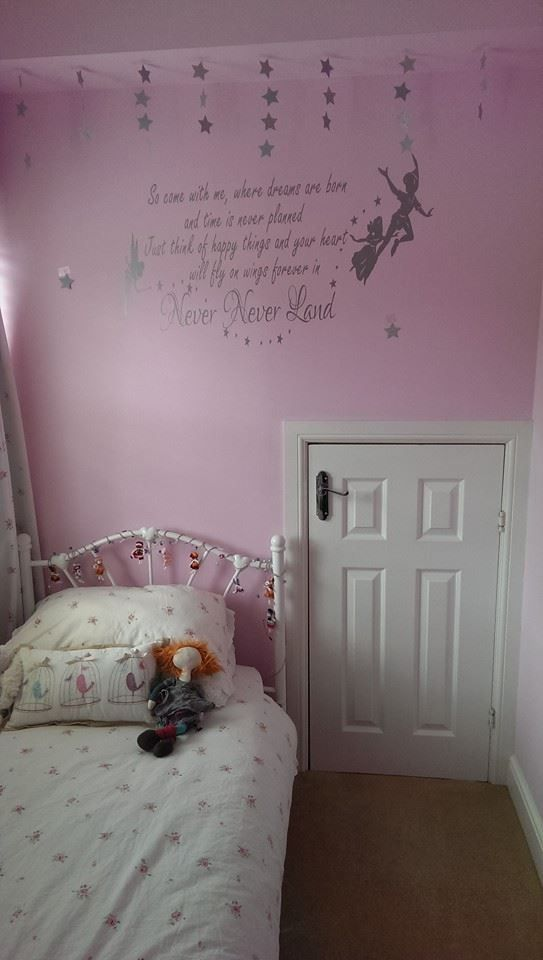 Bunting, wall stickers, girls bedroom, wall stickers, twins, Peter Pan wall quote