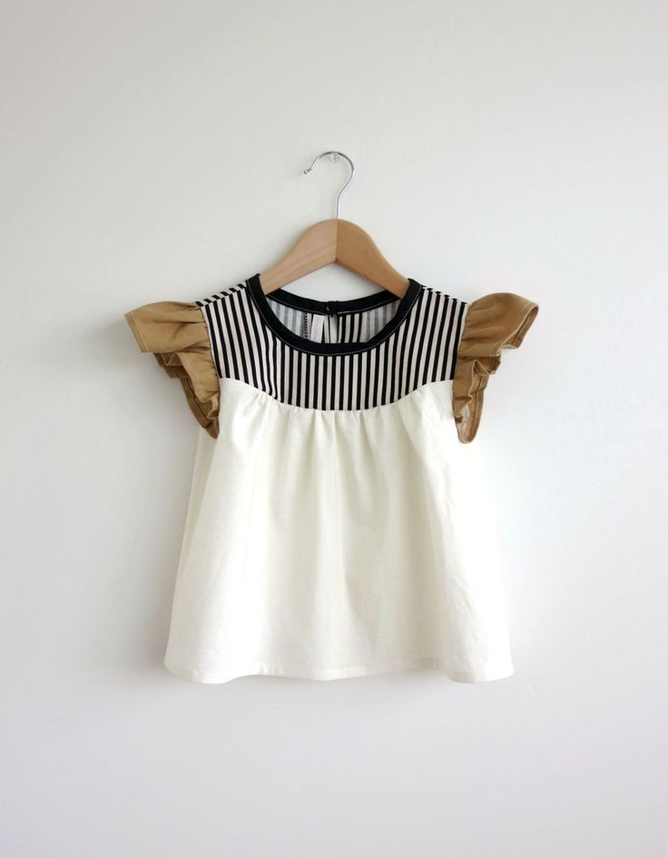 Got this! girls' cotton blouse with striped detail by swallowsreturn on Etsy