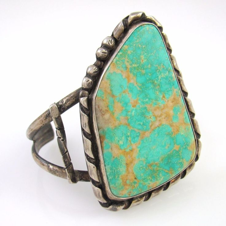 Large Old Pawn Navajo Sterling Silver High Grade Turquoise Cuff Bracelet │RS LX
