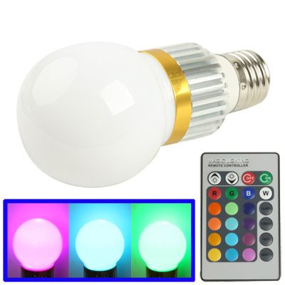 [$4.09] E27 3W RGB Flash LED Light Bulb with Remote Controller, AC 85-265V, Luminous Flux: 240-270lm