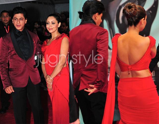 Red carpet fail: Shahrukh Khan and Gauri Khan (in Tarun Tahiliani) in Vancouver for #TOIFA. #bollywood