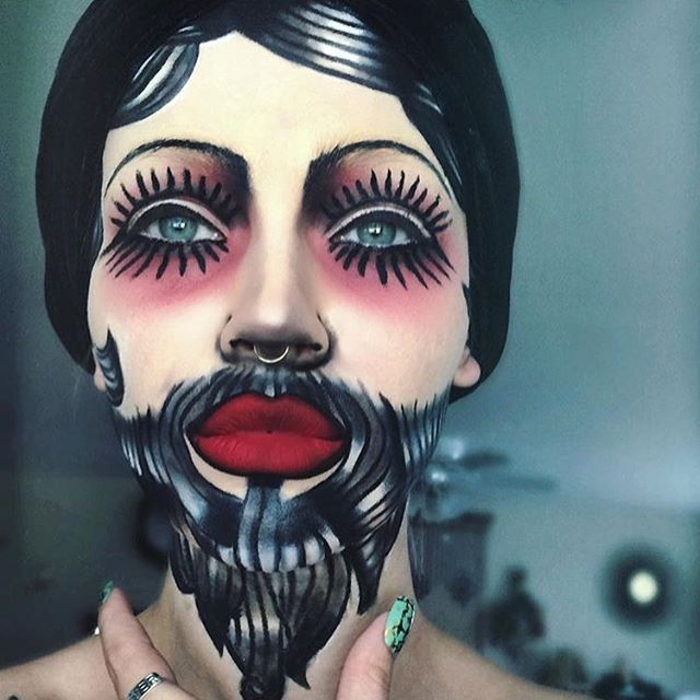 Freak show bearded lady Halloween Makeup by @itslikelymakeup on Instagram