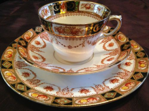 Vintage Royal Albert Devon Black Imari Deco Crown China