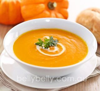 Pumpkin soup. Full recipe here: http://www.bellybelly.com.au/recipes-cooking/pumpkin-soup-recipe-the-best-pumpkin-soup-recipe