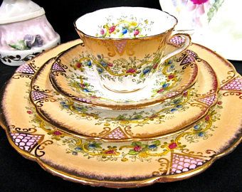 ANTIQUE circa 1900s tea cup and saucer trio & cale plate floral Stanley teacup