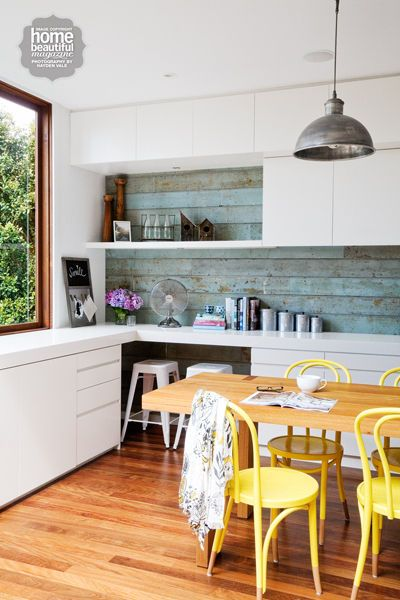 Quirky splashback - ceramic coloured timber look tiles available at TILE junket #geelongwest #tiles #interiordesign