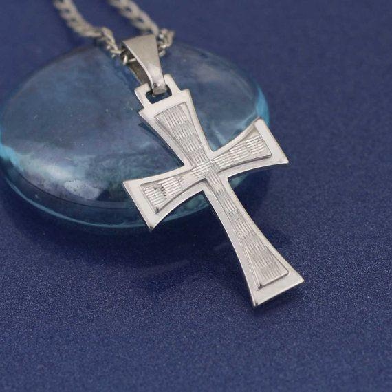 Cruz collar de plata esterlina Cruz Cruz de plata por theangelfaith