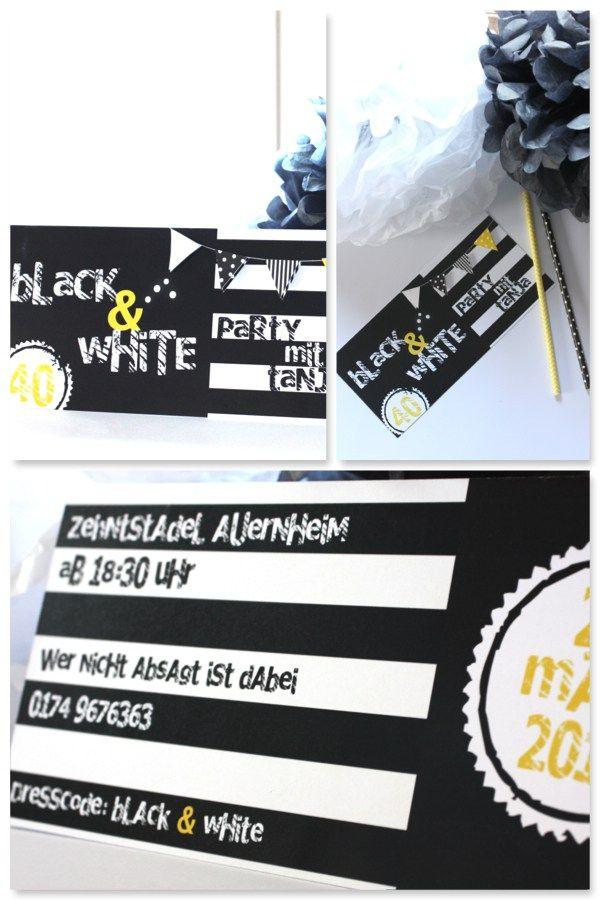 Einladung Black & White Party www.pickposh.de