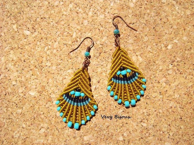 Macrame earrings tutorial by Very Bijoux