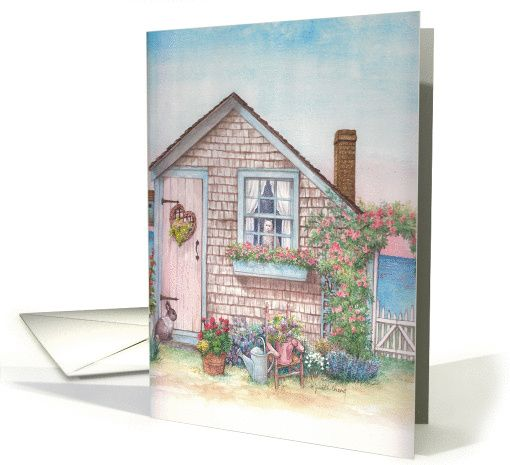 Looking for a Nantuket souvenir? .illustrated nantucket beach cottage card