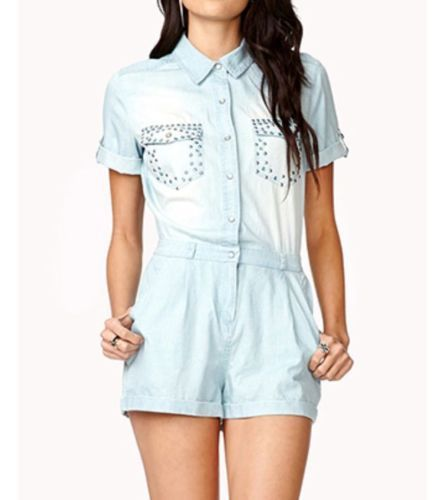 NWT Forever 21 Chambray Romper Junior Studded Size M
