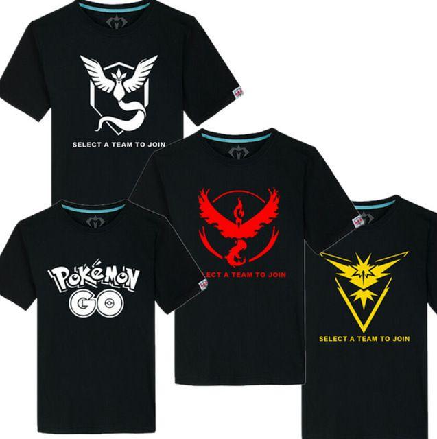 Pokemon Идут Команды Доблести Команды Мистик Команда Инстинкт Pokeball nerd Черная футболка Топы Футболки
