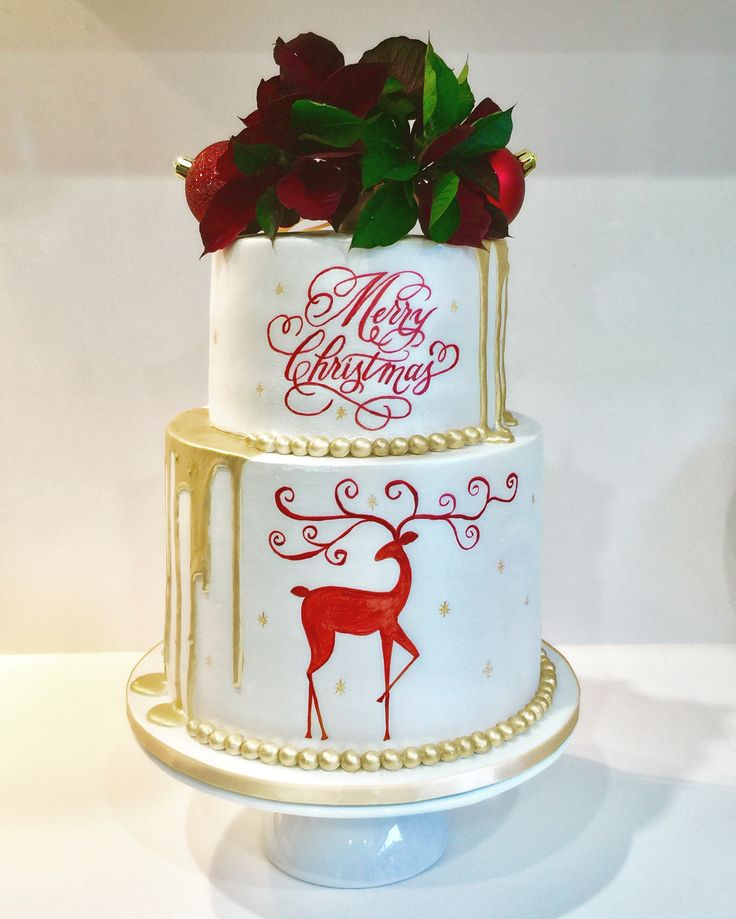 Hand painted Christmas gold drip cake