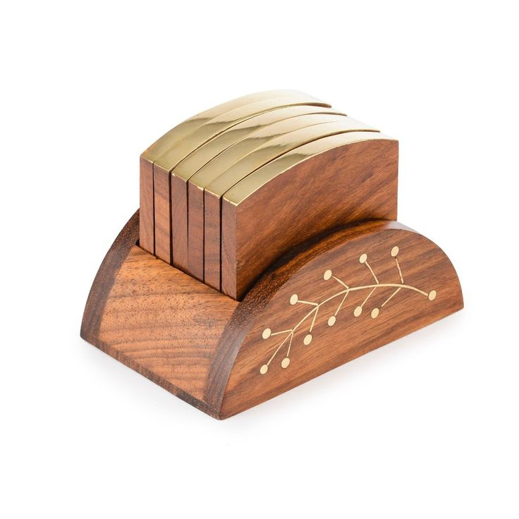 Rusticity Cool Wood Coaster Set Of 6 With Holder For Beer And Other Drinks    Loaf Design