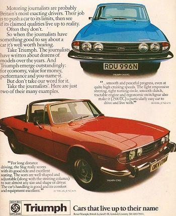 Triumph Stag Car Print 1975, Advertising Wall Art. £7.50, via Etsy.