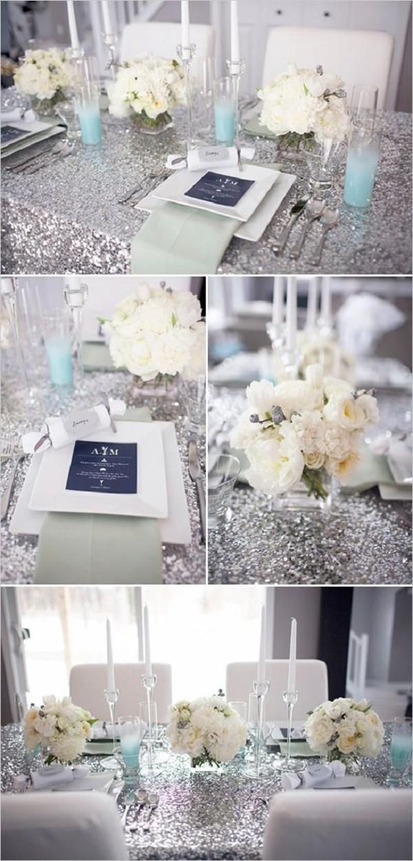 glitter table covers for a new years eve wedding