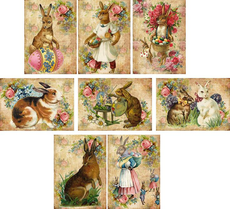 Vintage Easter 8 Bunny Rabbit Antique Pictures Note Cards Tags Scrapbooking