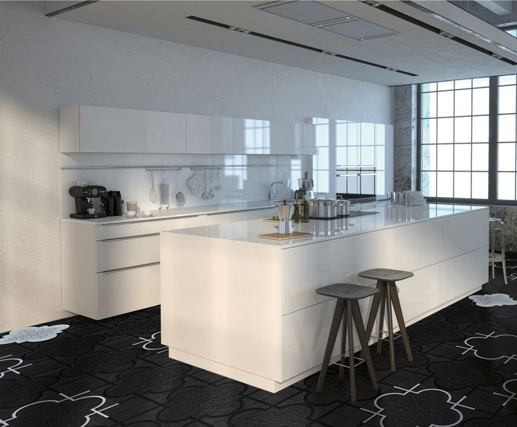 #blackandwhite kitchen w/ Face collection