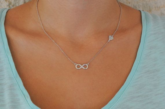Sterling silver infinity necklace with tiny heart by Wavejewels