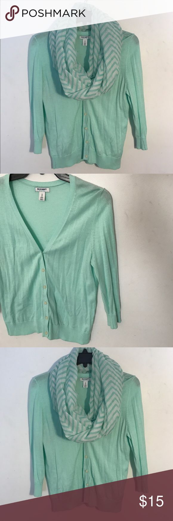 ♡ Scarf & Cardigan ♡ Beautiful old navy mint color button up cardigan with a matching infinity scarf included! 3/4 sleeves, size petite medium. Only worn once! Bundle and save! Old Navy Sweaters Cardigans
