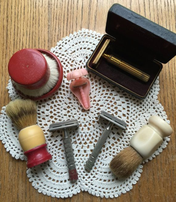 4 Vintage Shaving Razors and 3 Shaving Lather by LeftoverStuff